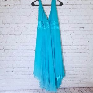 GORGEOUS teal pleated asymmetrical halter dress